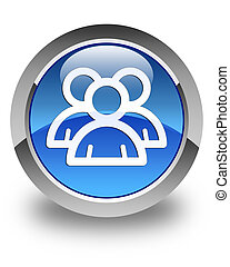 Group icon glossy blue round button 2