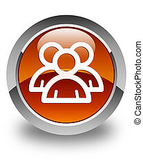Group icon glossy brown round button