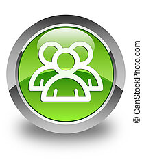 Group icon glossy green round button 2
