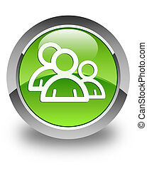 Group icon glossy green round button 3