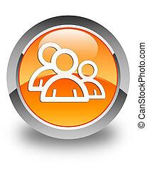 Group icon glossy orange round button 3