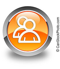 Group icon glossy orange round button