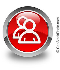 Group icon glossy red round button