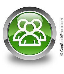 Group icon glossy soft green round button