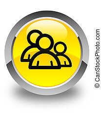 Group icon glossy yellow round button