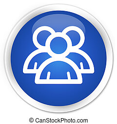 Group icon premium blue round button