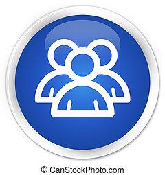Group icon premium blue round button