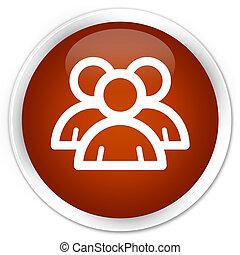 Group icon premium brown round button