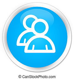 Group icon premium cyan blue round button