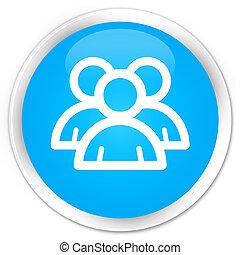 Group icon premium cyan blue round button