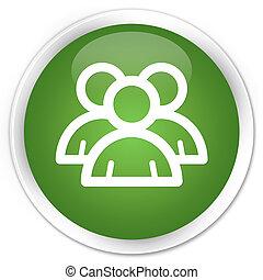 Group icon premium soft green round button