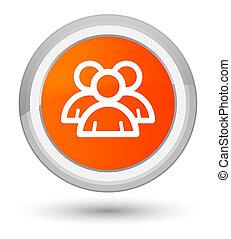 Group icon prime orange round button