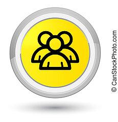 Group icon prime yellow round button