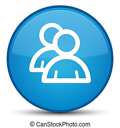Group icon special cyan blue round button