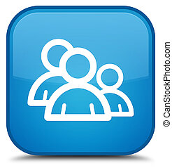 Group icon special cyan blue square button