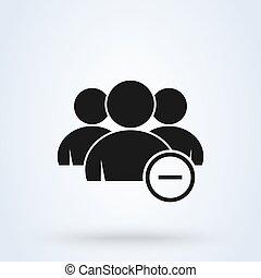 group., illustration., 単純である, 現代, ベクトル, デザイン, 取除きなさい, マイナス, アイコン