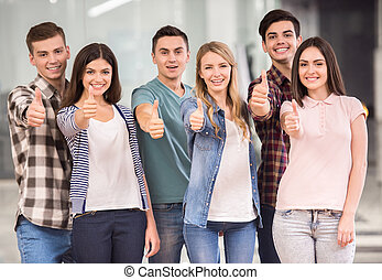 Group interaction - Join successful team! Group of happy...