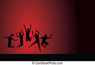 group jumping on a red background