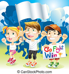 Group kids cheering with flag. Vector Illustration.