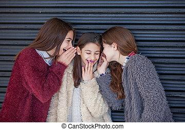 group kids whispering secrets