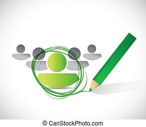 group leader selection process. illustration