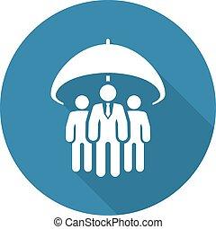 Group Life Insurance Icon. Flat Design. Isolated Illustration. Long Shadow.
