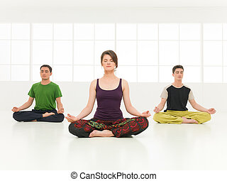 htha yoga posture demonstration full side view of young