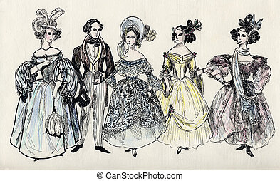 group of fancy man and women 18 century. part 3