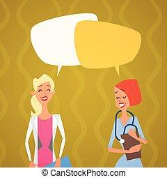Group Medial Doctors Chat Bubble Social Network Communication Team Clinics Hospital