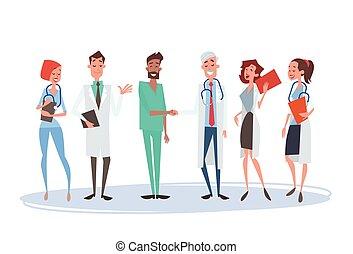 Group Medial Doctors Hand Shake Team Clinics Hospital Flat...