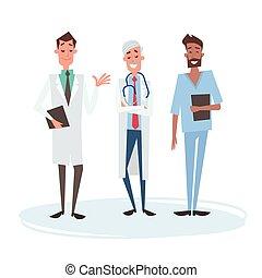 Group Medial Doctors Man Team Clinics Hospital Flat Vector...