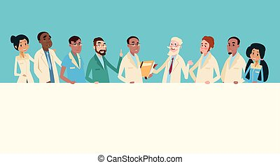 Group Medial Doctors Team Clinic Stuff Hospital Hold Banner...