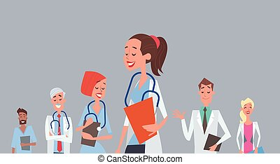 Group Medial Doctors Team Clinics Hospital Flat Vector...