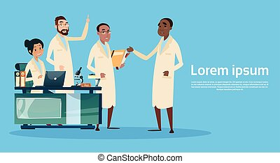 Group Medial Doctors Team Hospital Cabinet Interior Flat...