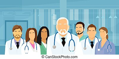 Group Medial Doctors Team Hospital Flat Vector Illustration