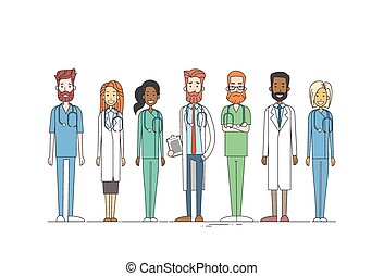 Group Medial Doctors Team Work Thin Line Vector Illustration