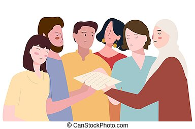 group men women crowding in dispute pay attention paperwork with flat cartoon style