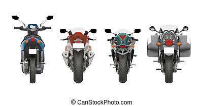 group motorcycles back view 3d rendering
