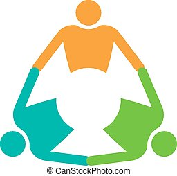 Group of 3 people holding in circle