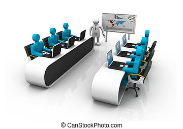 Group of 3d Business People Working Together in Office