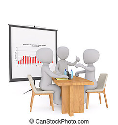 Group of 3d businessmen in a meeting