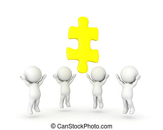 Group of 3D Characters looking up to golden jigsaw puzzle piece