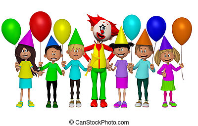 Group of 3d kids, celebrating party with Clown