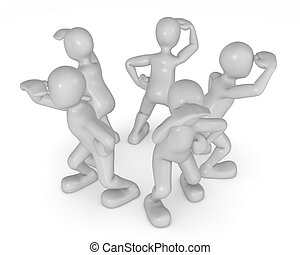 group of 3d people in circle exploring
