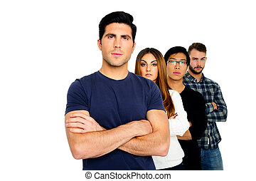 Group of a people standing in a row isolated on white background