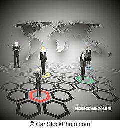Group of a professional business team. Characters are standing over gray background and world map. Vector illustration