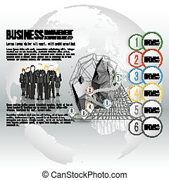 Group of a professional business team standing over gray background with timeline and world globe. Vector infographic template for your design