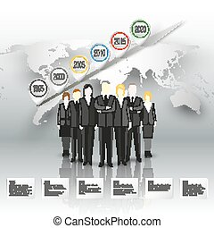 Group of a professional business team standing over gray background with timeline and world map. Vector infographic template for your design