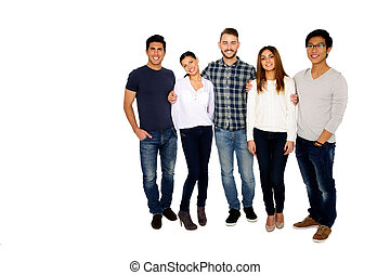 Group of a young happy friends isolated on a white ...