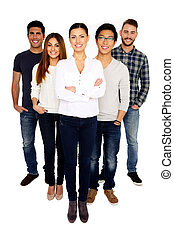 Group of a young happy people standing over white background